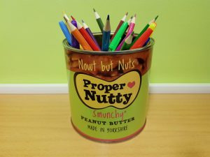 A pencil or paintbrush holder
