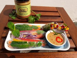 Rainbow Vegetable Rice Paper Rolls with Spicy Peanut Dipping Sauce